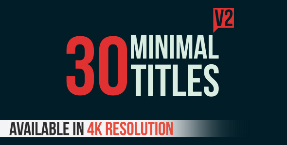 Videohive: 30 Minimal Titles V2 - After Effects Template