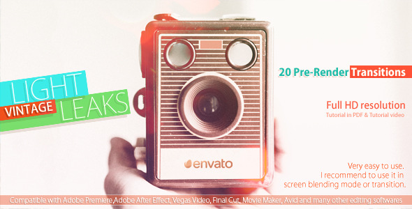 Videohive: Vintage Light Leaks - After Effects Motion Graphics Template
