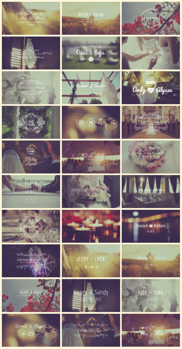 Videohive: 30 Wedding Titles - After Effects Project