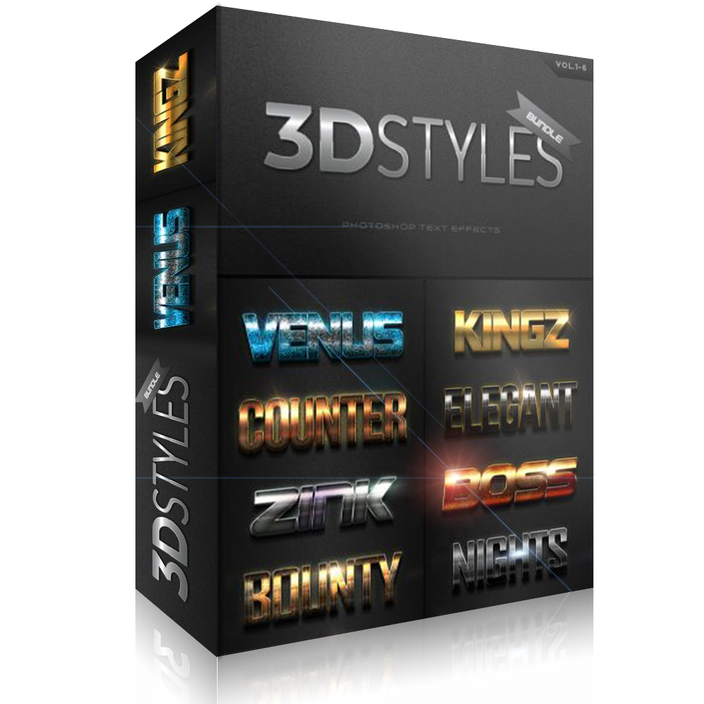GraphicRiver: 3D Photoshop Text Effects Bundle Three